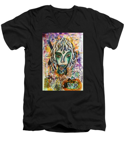 Men's V-Neck T-Shirt featuring the mixed media Elf by Mimulux patricia no No