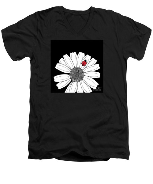 Ella's Daisy Men's V-Neck T-Shirt by Billinda Brandli DeVillez