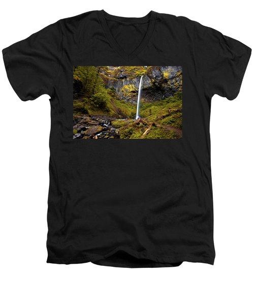 Elowah Falls Oregon Men's V-Neck T-Shirt