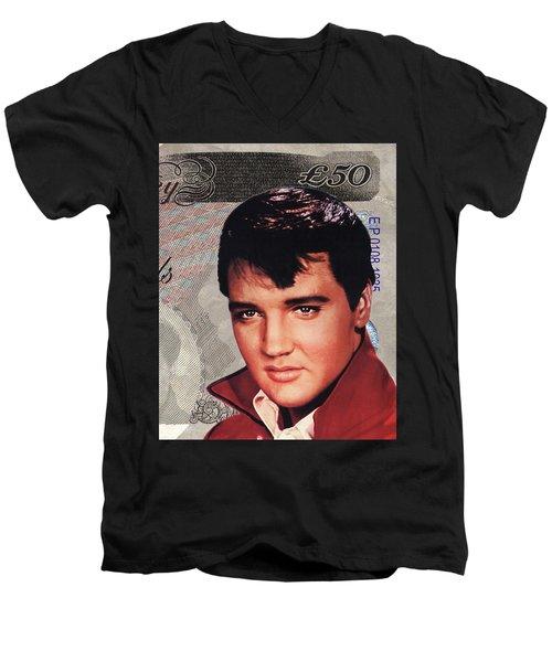 Elvis Presley Men's V-Neck T-Shirt by Unknown