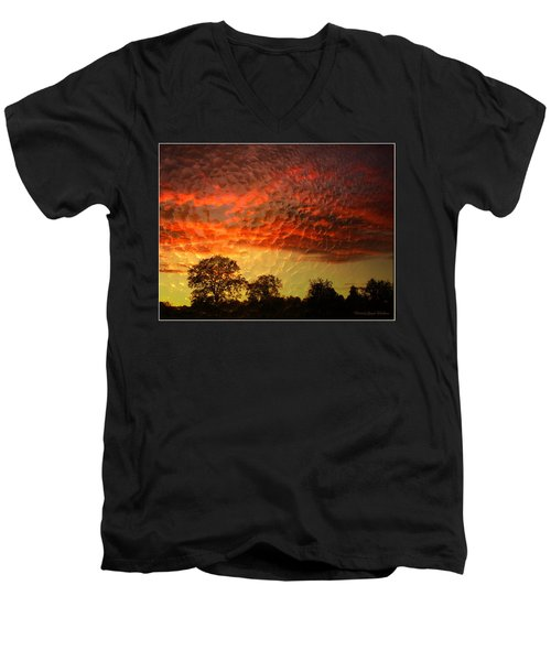 Men's V-Neck T-Shirt featuring the photograph Embossed Sunrise by Joyce Dickens