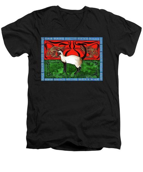 Emerald Meets Siamese Men's V-Neck T-Shirt