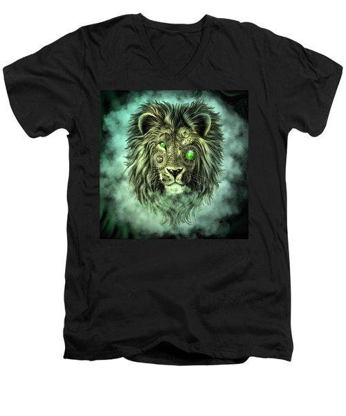 Emerald Steampunk Lion King Men's V-Neck T-Shirt