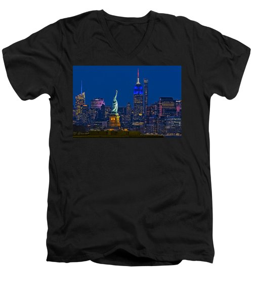 Empire State And Statue Of Liberty II Men's V-Neck T-Shirt