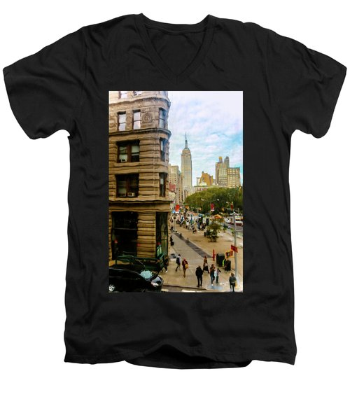 Men's V-Neck T-Shirt featuring the photograph Empire State Building - Crackled View by Madeline Ellis