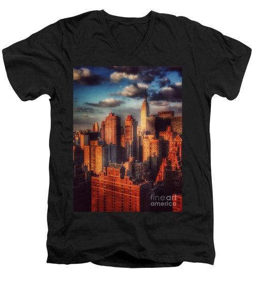 Empire State In Gold Men's V-Neck T-Shirt by Miriam Danar