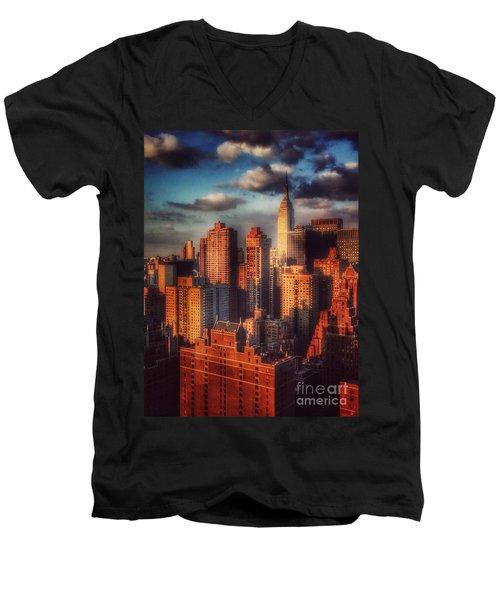 Empire State In Gold Men's V-Neck T-Shirt