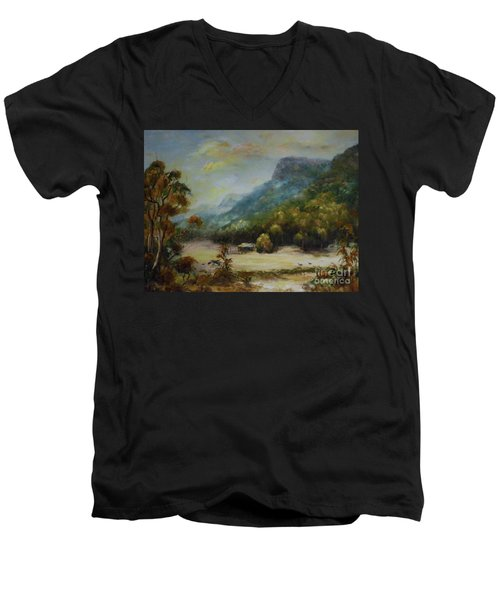Men's V-Neck T-Shirt featuring the painting Emu Plains, Grampians by Ryn Shell