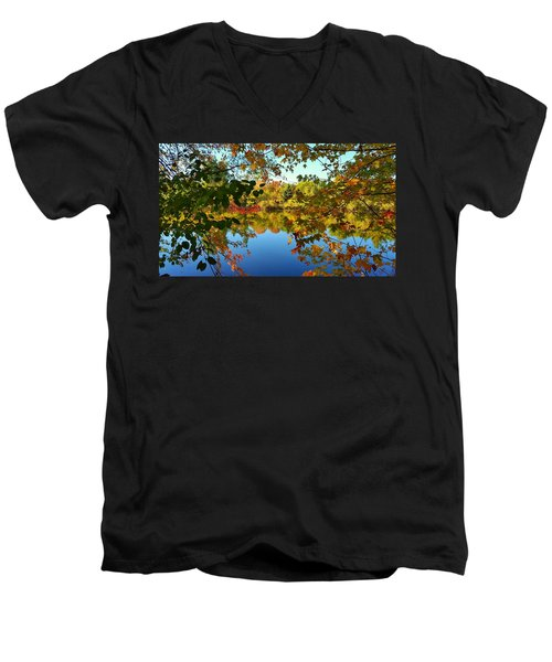 Men's V-Neck T-Shirt featuring the photograph Enchanted Fall by Valentino Visentini