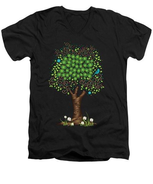 Enchanted Tree Men's V-Neck T-Shirt by Serena King