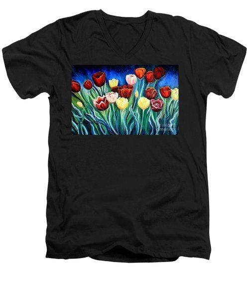 Enchanted Tulips Men's V-Neck T-Shirt
