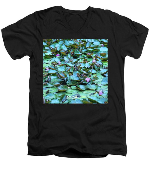 Painted Water Lilies Men's V-Neck T-Shirt by Theresa Tahara