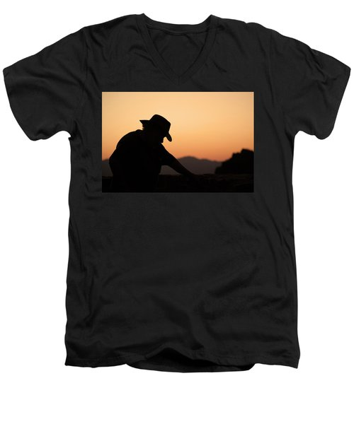 Men's V-Neck T-Shirt featuring the photograph End Of The Day by Lynn Geoffroy