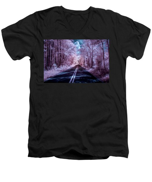 Men's V-Neck T-Shirt featuring the photograph End Of The Road by Louis Ferreira