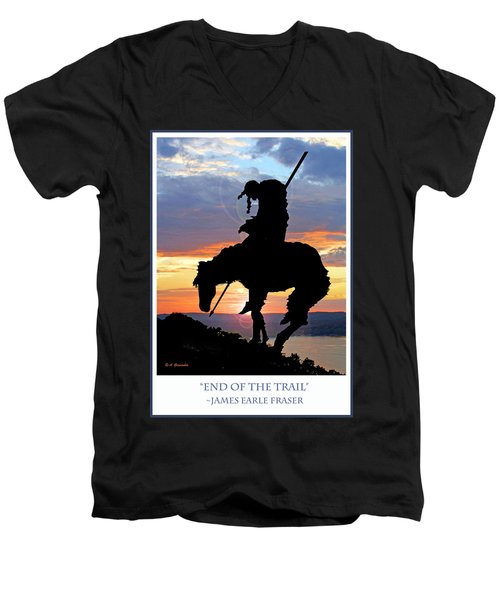 End Of The Trail Sculpture In A Sunset Men's V-Neck T-Shirt