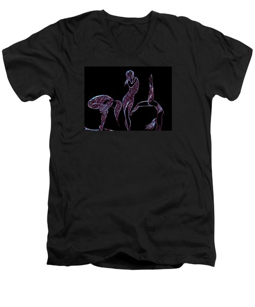 Men's V-Neck T-Shirt featuring the digital art Enhanced Transformation by Jamie Lynn