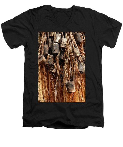 Men's V-Neck T-Shirt featuring the photograph Enkhuizen Fishing Nets by KG Thienemann