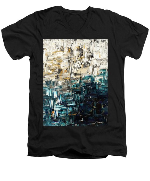 Men's V-Neck T-Shirt featuring the painting Envisioning by Carmen Guedez