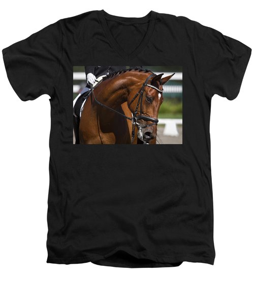 Men's V-Neck T-Shirt featuring the photograph Equestrian At Work D4913 by Wes and Dotty Weber