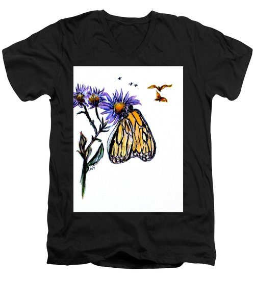 Erika's Butterfly One Men's V-Neck T-Shirt by Clyde J Kell