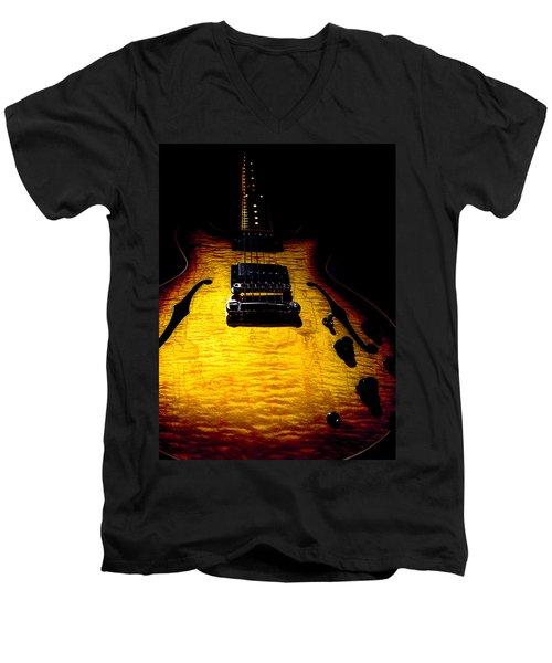 Es-335 Dots Flame Burst Spotlight Series Men's V-Neck T-Shirt
