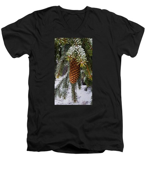 Men's V-Neck T-Shirt featuring the photograph Essence Of Winter  by Bruce Carpenter