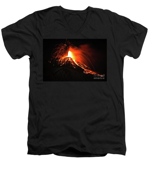 Men's V-Neck T-Shirt featuring the pyrography Etna by Bruno Spagnolo