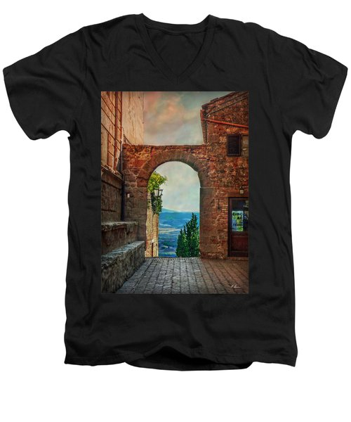 Men's V-Neck T-Shirt featuring the photograph Etruscan Arch by Hanny Heim