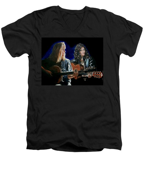 Men's V-Neck T-Shirt featuring the painting Eva Cassidy And Katie Melua by Bryan Bustard