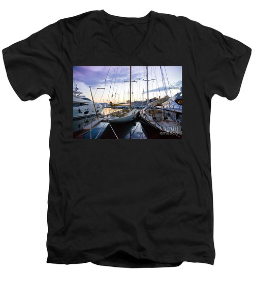 Evening At Harbor  Men's V-Neck T-Shirt
