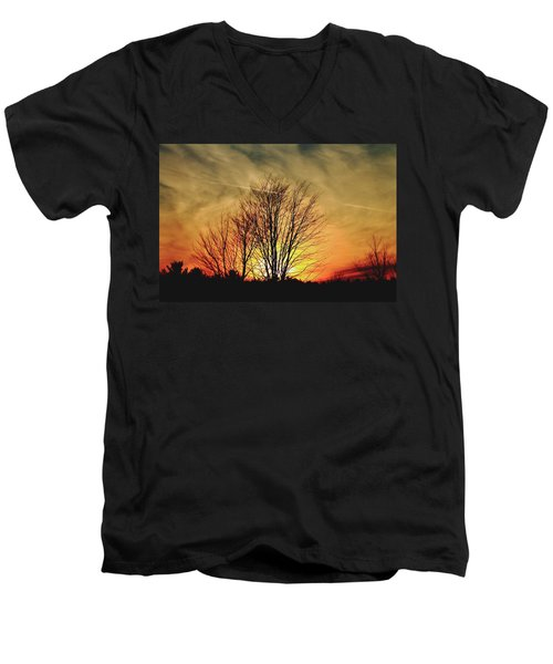 Men's V-Neck T-Shirt featuring the photograph Evening Fire by Bruce Patrick Smith