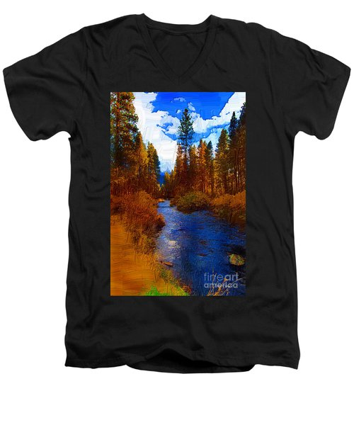 Evening Hatch On The Metolius Painting Men's V-Neck T-Shirt by Diane E Berry