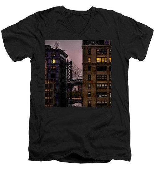 Men's V-Neck T-Shirt featuring the photograph Evening In Dumbo by Chris Lord