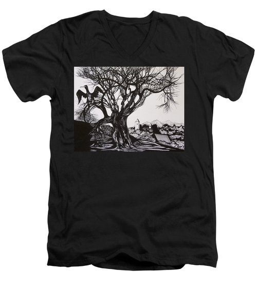 Evening In Midnapore Men's V-Neck T-Shirt by Anna  Duyunova