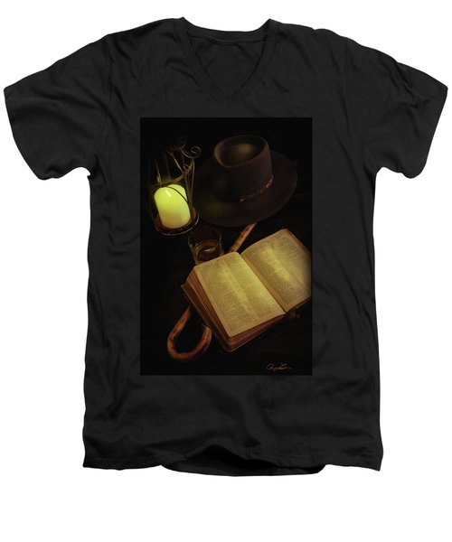 Men's V-Neck T-Shirt featuring the photograph Evening Reading by Ann Lauwers