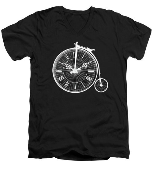 Evening Ride Penny Farthing On Black Men's V-Neck T-Shirt