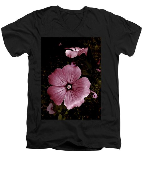 Evening Rose Mallow Men's V-Neck T-Shirt by Danielle R T Haney