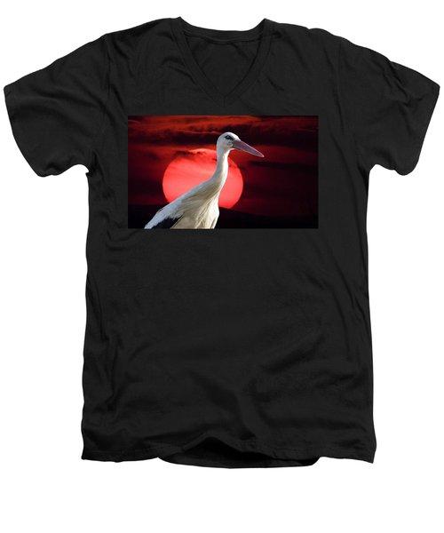 Evening Stork  Men's V-Neck T-Shirt