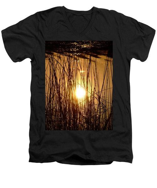 Evening Sunset Over Water Men's V-Neck T-Shirt