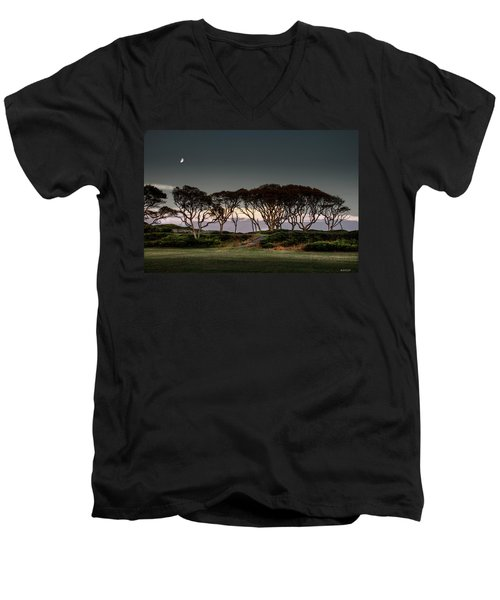 Men's V-Neck T-Shirt featuring the photograph Dusk At Fort Fisher by Phil Mancuso