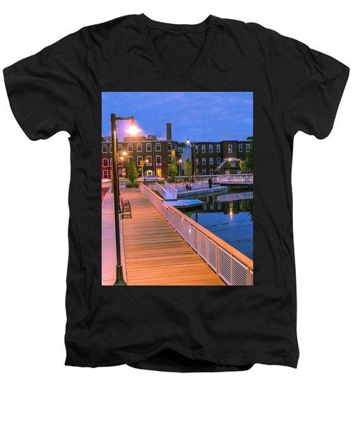 Men's V-Neck T-Shirt featuring the photograph Evening Walk At Nashawannuck Pond by Sven Kielhorn
