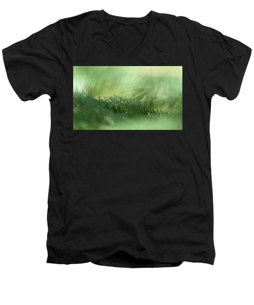 Men's V-Neck T-Shirt featuring the photograph Evergreen Mist by Ann Lauwers