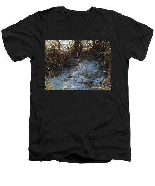 Men's V-Neck T-Shirt featuring the photograph Everything Grows In The Sand by Robert Margetts