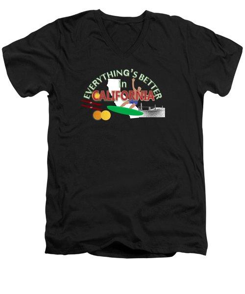 Everything's Better In California Men's V-Neck T-Shirt by Pharris Art