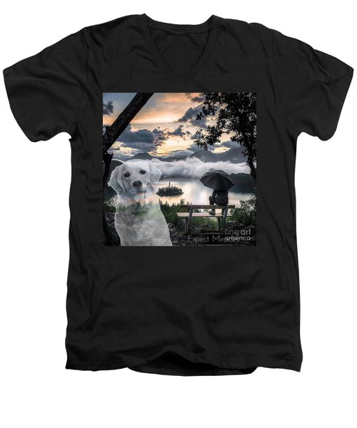 Men's V-Neck T-Shirt featuring the digital art Expect Miracles by Kathy Tarochione