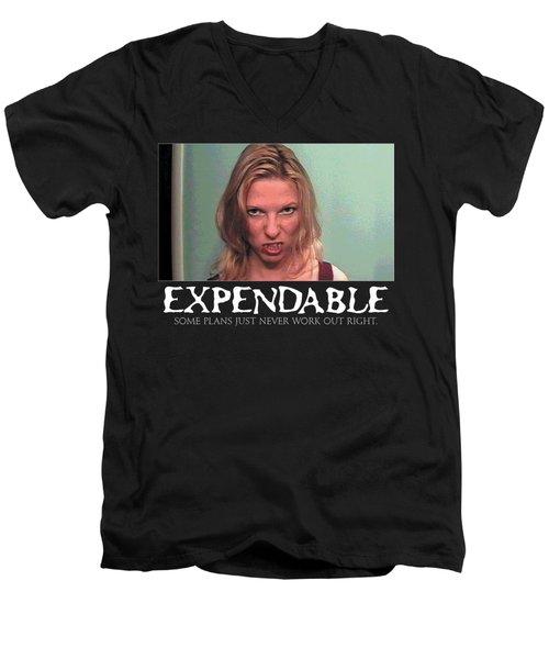 Expendable 10 - Black Men's V-Neck T-Shirt by Mark Baranowski