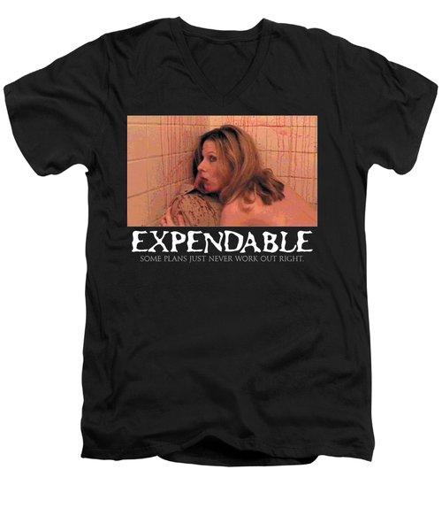 Expendable 14 - Black Men's V-Neck T-Shirt by Mark Baranowski