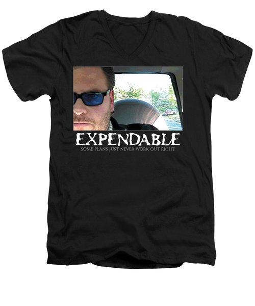 Expendable 3 - Black Men's V-Neck T-Shirt by Mark Baranowski