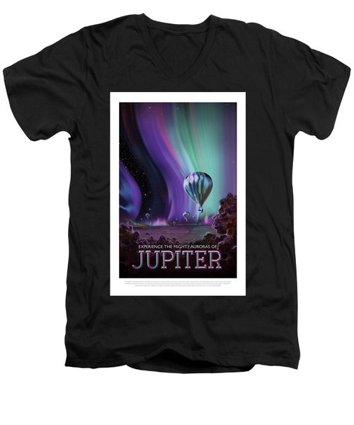 Experience The Mighty Auroras Of Jupiter - Vintage Nasa Poster Men's V-Neck T-Shirt