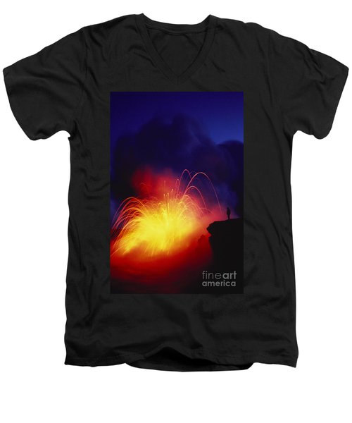 Exploding Lava And Person Men's V-Neck T-Shirt by Greg Vaughn - Printscapes